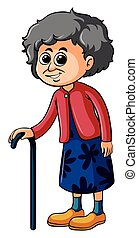 Old lady with walking stick illustration