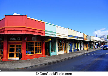 Old Lahaina storefronts on the Lahaina, Maui waterfront. Lahaina was once the capital of Hawaii and home to the whaling industry. Now it is a pretty tourist town with many heritage buildings