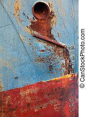 Old laid up ship stranded on land - Abandoned broken...