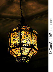 old lamp on the wall, photo as background