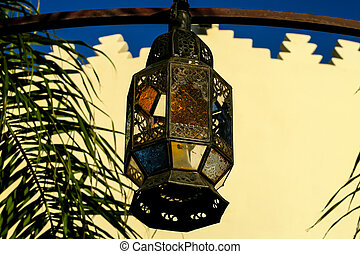 old lamp on wall, photo as background