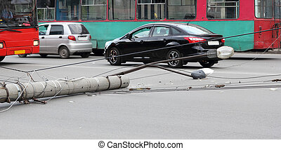 lamppost, which fell on the road - old lamppost, which fell ...