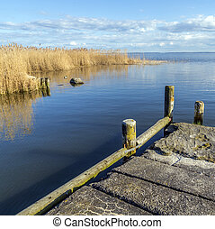 old landing stage at Achterwasser in Usedom at the baltic...