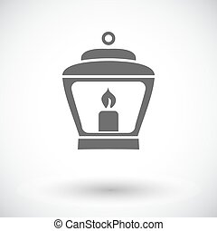 Old lantern. Single flat icon on white background. Vector...