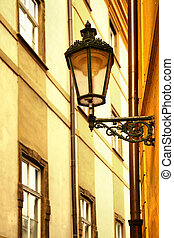 Old lantern at narrow street at Prague, Czech Republic