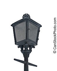 Old lantern in the street on the white background