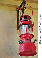 Old lantern vintage hanging on the wall