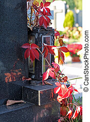 lantern with red woodbine - old lantern with red woodbine...