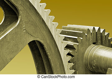 Old large gears - Old large industrial gears with clipping...