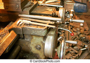 Old lathe in manufacture