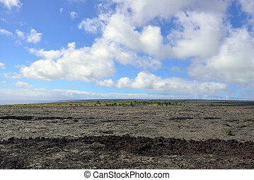 old lava and sky in the Big Island of Hawaii, Volcanoes National Park