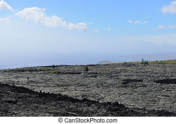 old lava and sky in the Big Island of Hawaii, Volcanos National Park