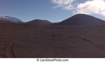 Old lava fields and volcanoes Tolbachik stock footage video