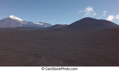 Old lava fields and volcanoes Tolbachik