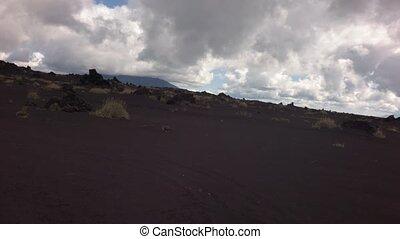 Old lava fields on slopes of volcanoes Tolbachik