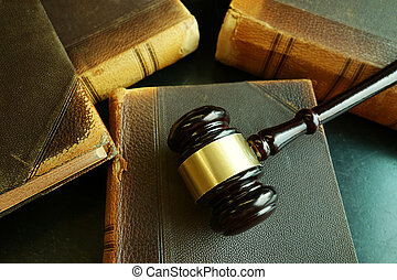 Old law books and gavel