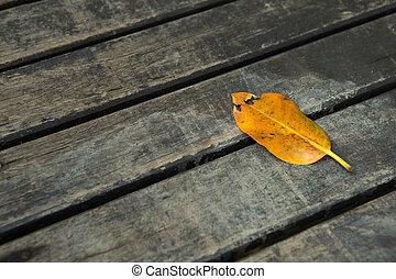 old leaf on wooden