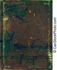 Old leather: Abstract textured background with green, yellow, and blue patterns on brown backdrop