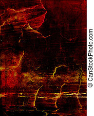 Old leather: Abstract textured background with red, yellow, and brown patterns on dark backdrop