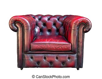 Old partially damaged red leather armchair on a white background