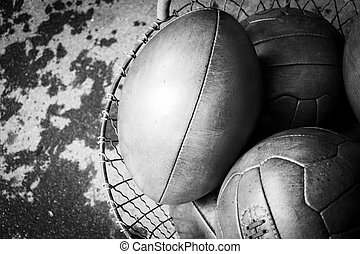 old leather balls