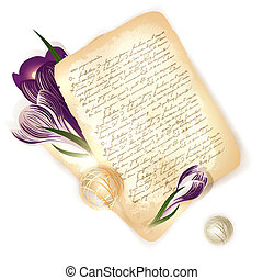 old letter with crocus flowers