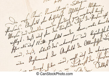 Old letter with handwritten text. Grunge vintage paper texture