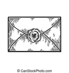Old letter with seal stamp engraving vector illustration. Scratch board style imitation. Black and white hand drawn image.