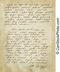 Old letter with vintage handwriting. Grunge. - Old letter...