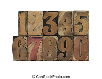 old letterpress wood numbers