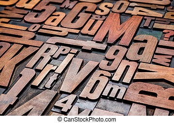 Old letterpress wood type printing blocks