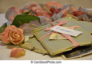 Old letters and memories of love - Old letters in blue...