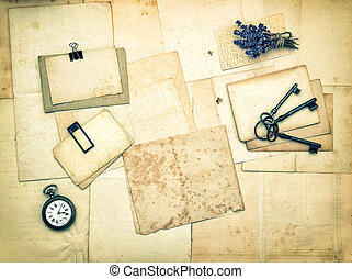 old letters and photos, vintage accessories, lavender flowers