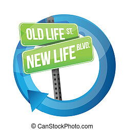 old life versus new life road sign cycle illustration design...