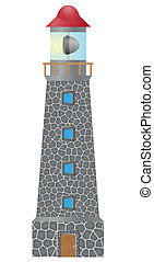 old lighthouse built in stone vector illustration isolated...