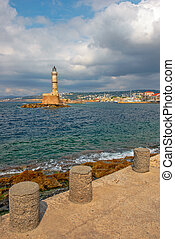 Old lighthouse in port of Chania on Crete island. Greece