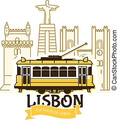 Old Lisbon tram and cityscape of city, Portugal landmarks, ...