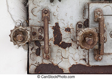 Old lock and handle of crematory
