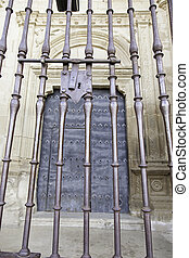Old lock on a metal gate