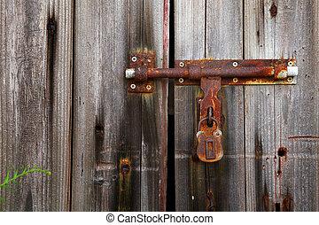 old lock on closed door