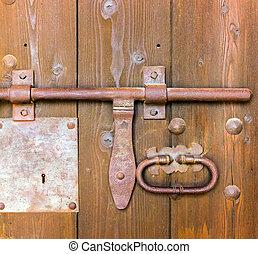 old lock on door