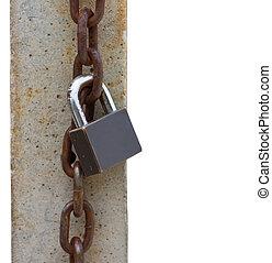 Old lock on white.