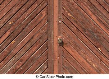 Old locked wooden door.
