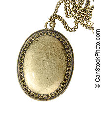 Old Locket - Closed brass medallion isolated with clipping...