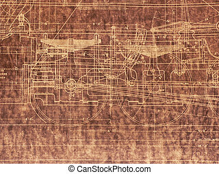 Old Locomotive Blueprint