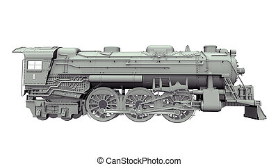 Old Locomotive - Computer generated 3D illustration with an...