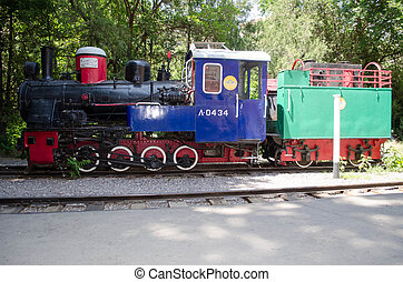 Old locomotive on children's railwa