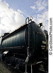 Old Locomotive on display against sky