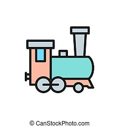 Old locomotive, train, railroad flat color line icon.