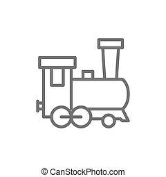 Old locomotive, train, railroad line icon.